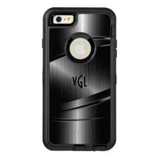 黒い金属質の幾何学的設計のモノグラム オッターボックスディフェンダーiPhoneケース