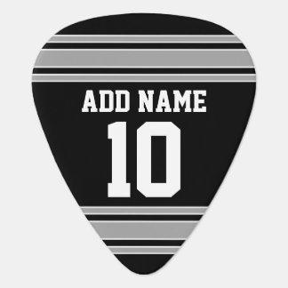 黒い銀はあなたの名前及び数を用いるジャージーを遊ばします ギターピック