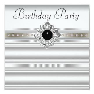 黒い銀は女性の誕生会を真珠で飾ります 13.3 スクエアインビテーションカード
