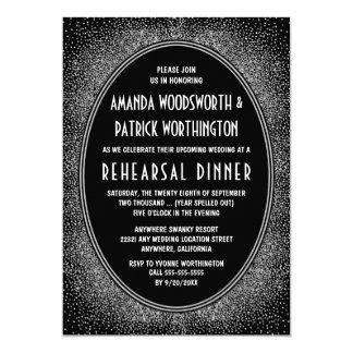 黒い銀製のアールデコのリハーサルの夕食の招待状 カード