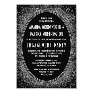 黒い銀製のアールデコの婚約パーティの招待状 カード