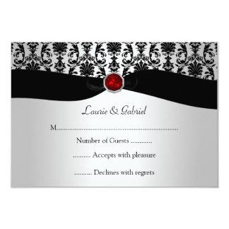 黒い銀製のダマスク織の赤い宝石RSVPの招待状 カード