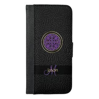 黒い革ケルト結び目模様のiPhoneのウォレットケース iPhone 6/6s Plus ウォレットケース