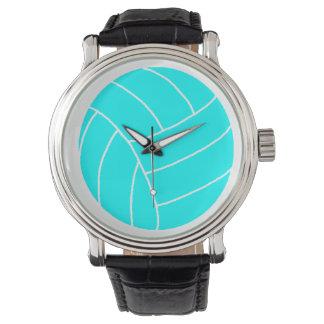 黒い革バンドが付いている水のバレーボールの腕時計 腕時計