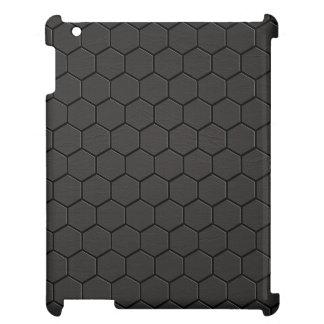 黒い革六角形のプリント iPadケース