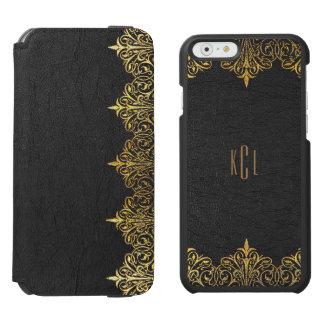 黒い革及び花の金ゴールドのレースフレーム iPhone 6/6Sウォレットケース