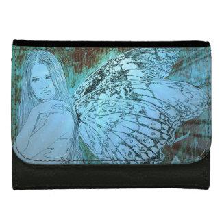 黒い革財布-中型のきらめきの妖精 ウォレット
