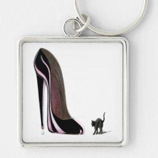 黒い靴およびscaredy猫のkeychain キーホルダー