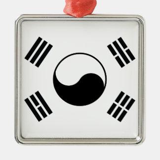 黒い韓国の国旗 メタルオーナメント