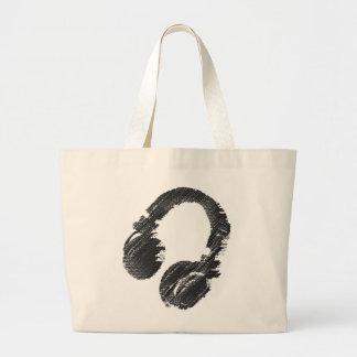 黒い音楽DJのヘッドホーン ラージトートバッグ