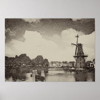 黒い風車、ハールレムのオランダ ポスター