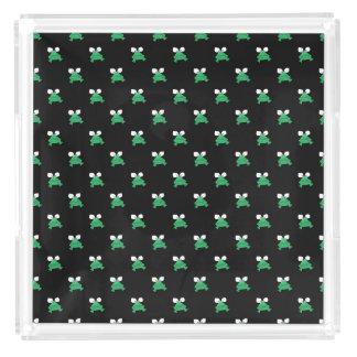 黒い香水の皿の緑カエル アクリルトレー