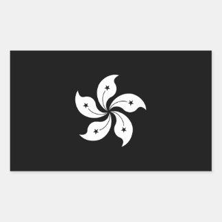 黒い香港の蘭の花の地方旗 長方形シール