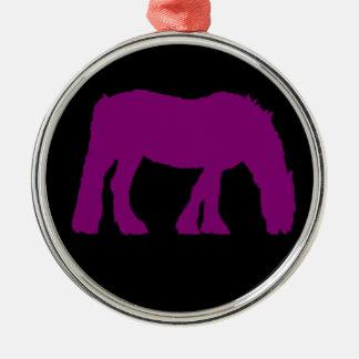 黒い馬のシルエットのオーナメントの紫色 メタルオーナメント