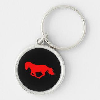 黒い馬のシルエットのキーホルダーの赤 キーホルダー