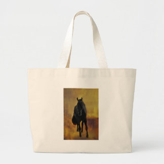 黒い馬のシルエット ラージトートバッグ