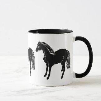 黒い馬のマグの飲み物用品 マグカップ