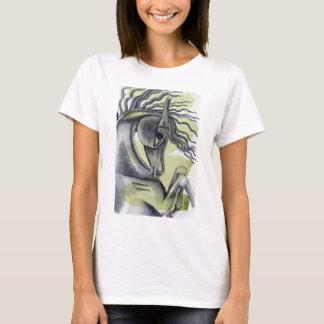 黒い馬の水彩画の洗浄の養育 Tシャツ