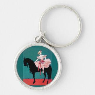 黒い馬を持つヴィンテージのサーカスの芸人 キーホルダー