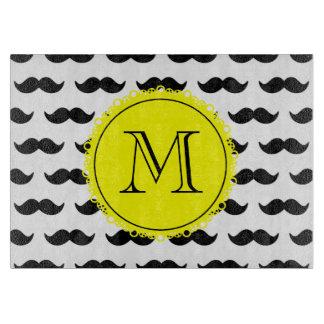 黒い髭パターン、黄色いモノグラム カッティングボード
