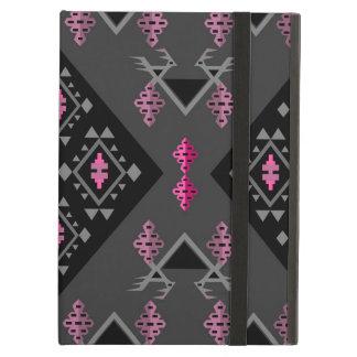 黒い鳥およびブドウおよび灰色のkilimパターン iPad airケース