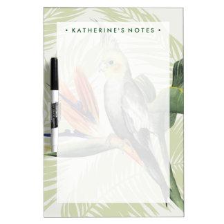 黒い鳥が付いているシュロの葉 ホワイトボード