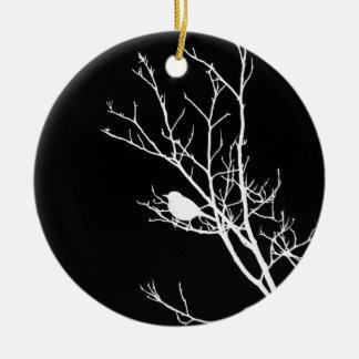 黒い鳥のシルエットの白- セラミックオーナメント