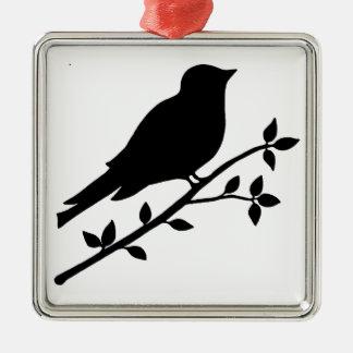 黒い鳥のシルエット メタルオーナメント