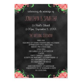 黒い黒板のピンクの花柄の結婚式プログラム 12.7 X 17.8 インビテーションカード