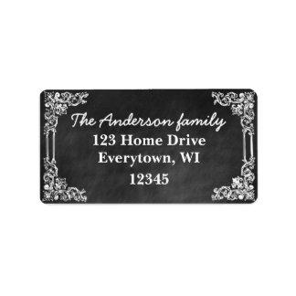 黒い黒板フレームは住所シールをカスタマイズ ラベル