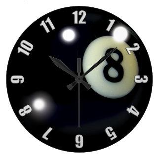 黒い8ボールのゲームの時計のデザイン ラージ壁時計