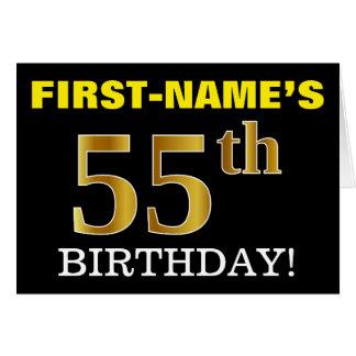 """黒い、模造金ゴールドの""""第55誕生日""""カード カード"""