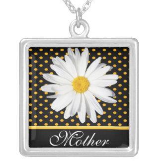 """黒い""""母""""ネックレスのShastaデイジー シルバープレートネックレス"""