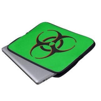 、黒い、生物学的災害[有害物質]のラップトップスリーブ-緑赤い ラップトップスリーブ
