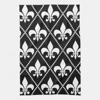 黒い(紋章の)フラ・ダ・リ キッチンタオル