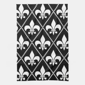 黒い(紋章の)フラ・ダ・リ 台所タオル