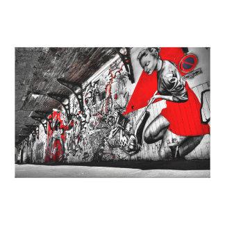 黒い、赤と白の通りの芸術の落書きの壁の芸術 キャンバスプリント