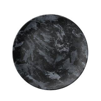 黒い#2の白いインク 磁器プレート