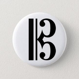 黒いCクレフ、音符記号 5.7CM 丸型バッジ