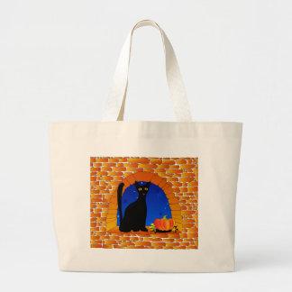 黒いcat&pumpkin&window ラージトートバッグ
