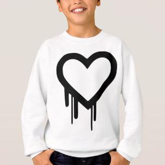 黒いHeartbleedの点滴注入のハート スウェットシャツ