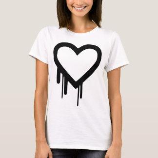 黒いHeartbleedの点滴注入のハート Tシャツ