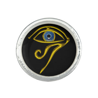 黒いHORUSの青い護符/目 リング