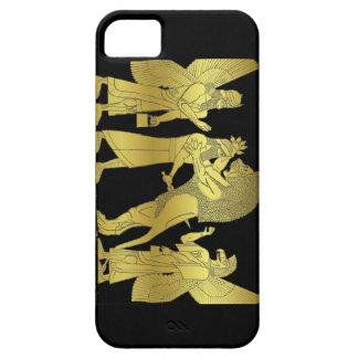 黒いiPhoneのライオンの狩りの金ゴールド iPhone SE/5/5s ケース