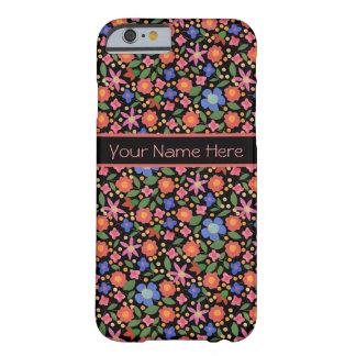 黒いiPhone6ケースの民芸のスタイルの花柄 Barely There iPhone 6 ケース