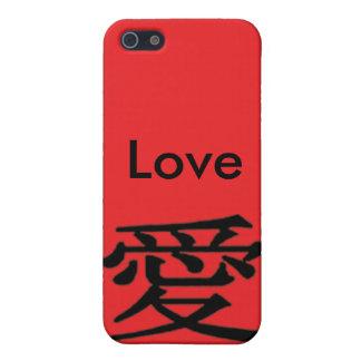 黒いiPhone 4の赤愛漢字を愛して下さい iPhone SE/5/5sケース