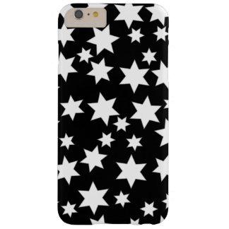 黒いiPhone 6/6sの任意白い星と Barely There iPhone 6 Plus ケース
