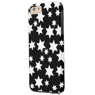 黒いiPhone 6/6sの任意白い星と Tough iPhone 6 Plus ケース