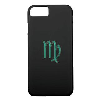 黒いiPhone 7の箱の緑の(占星術の)十二宮図の印の《星座》乙女座 iPhone 8/7ケース
