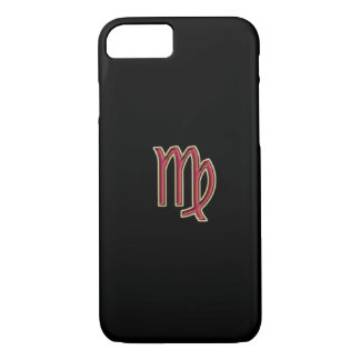黒いiPhone 7の箱の赤い(占星術の)十二宮図の印の《星座》乙女座 iPhone 8/7ケース
